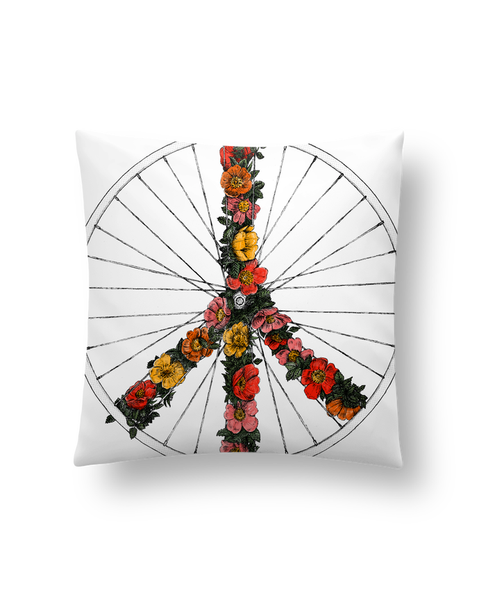 Coussin Synthétique Doux 45 x 45 cm Peace and Bike par Florent Bodart