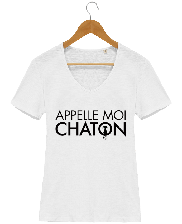 tee shirt femme col v coton bio appelle moi chaton. Black Bedroom Furniture Sets. Home Design Ideas