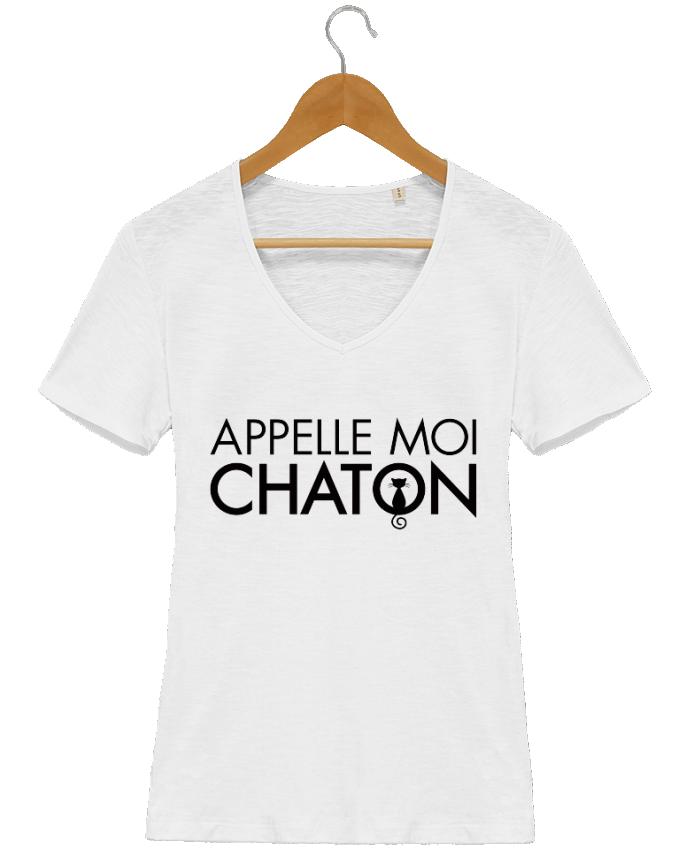 tee shirt femme col v coton bio appelle moi chaton