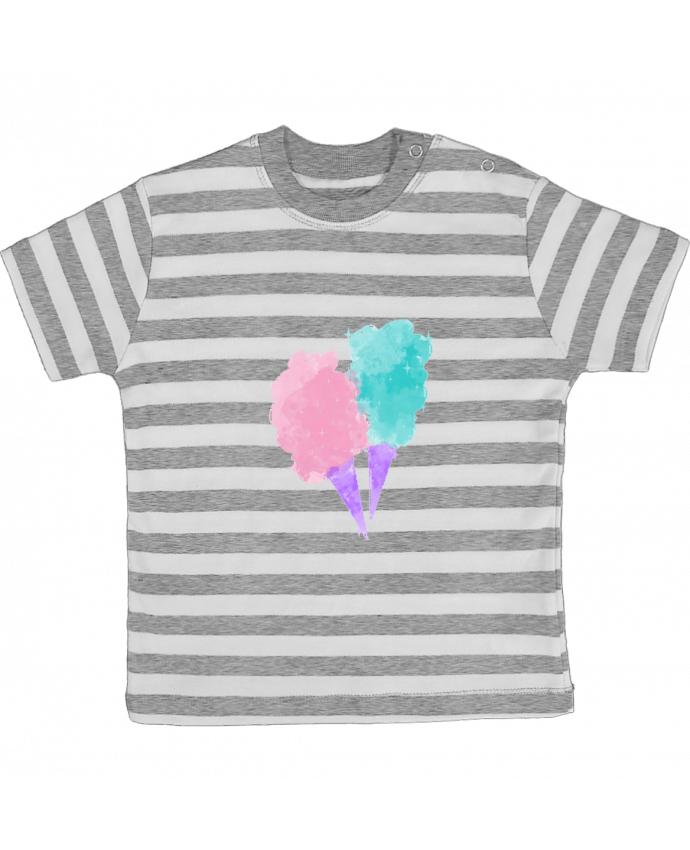 T-shirt Bébé à Rayures Watercolor Cotton Candy par PinkGlitter
