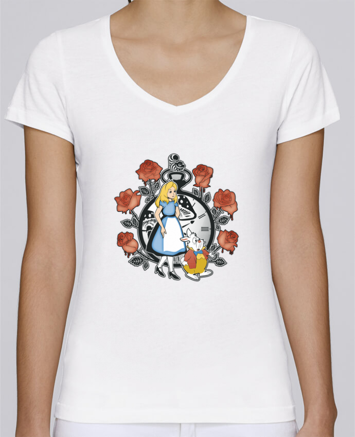 T-shirt Femme Col V Stella Chooses Time for Wonderland par Kempo24