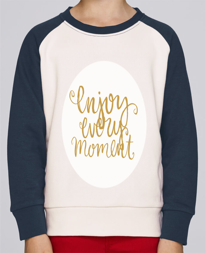 Sweat Shirt Col Rond Enfant Stanley Mini Contrast Enjoy every moment par Les Caprices de Filles