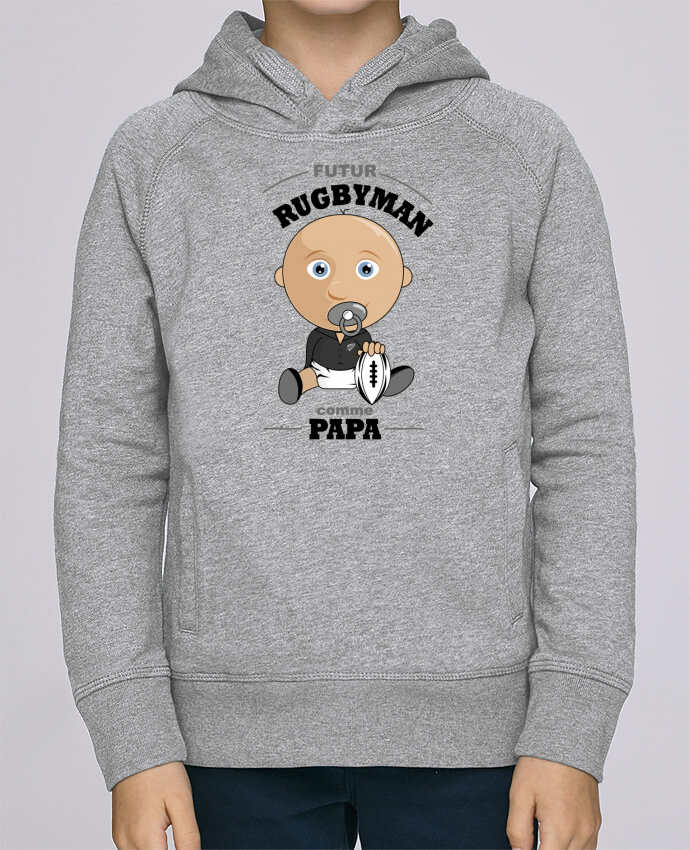 Sweat à Capuche Enfant Stanley Mini Base Futur rugbyman comme papa par GraphiCK-Kids