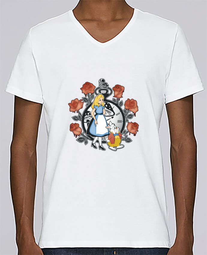T-shirt Col V Homme Stanley Relaxes Time for Wonderland par Kempo24