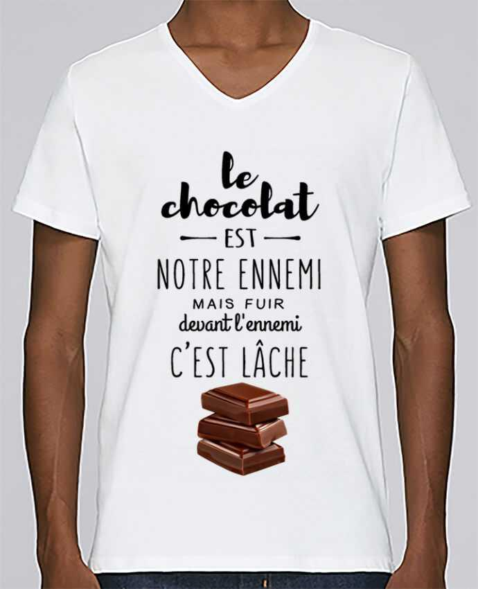 T-shirt Col V Homme Stanley Relaxes chocolat par DesignMe