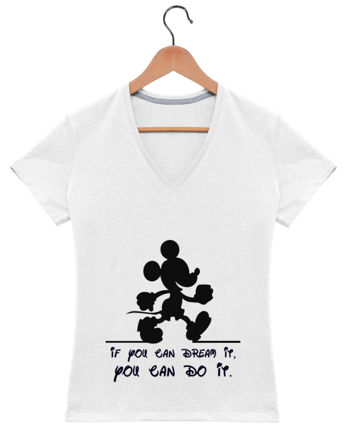 T-shirt Col V Femme 180 gr MICKEY DREAM par stephfen