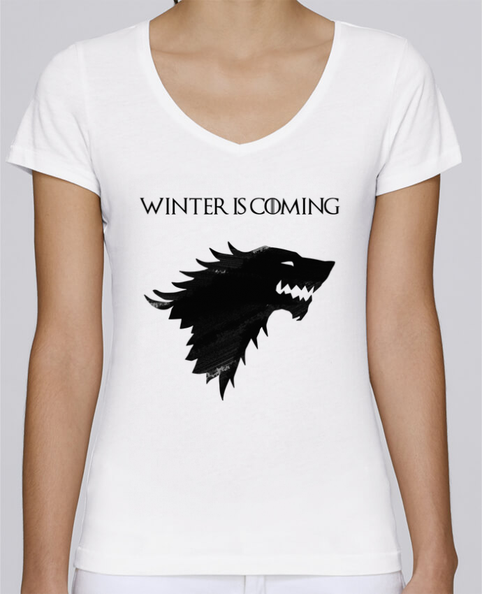T-shirt Femme Col V Stella Chooses Winter is coming - Stark par tunetoo