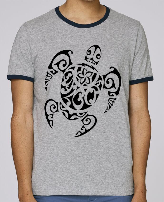 T Shirt Ringer Contraste Homme Stanley Holds Art De Tatouage Maori Polynesien De Tortues Marine Pour Homme 100 Coton Bio Tunetoo