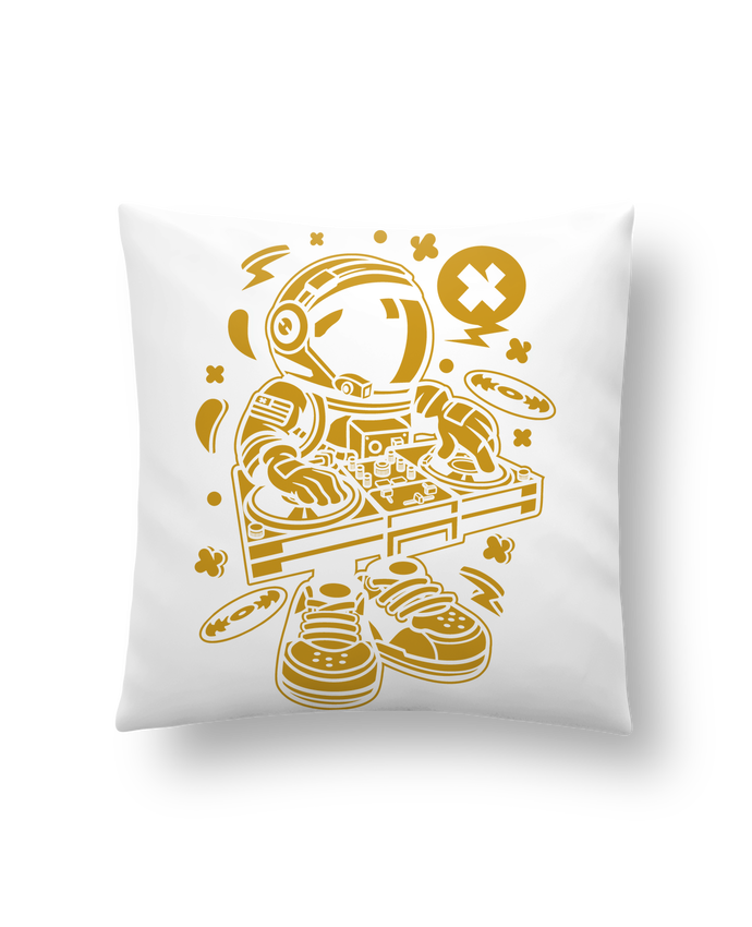 Coussin Synthétique Doux 41 x 41 cm Dj Astronaute Golden Cartoon | By Kap Atelier Cartoon par Kap Atelier