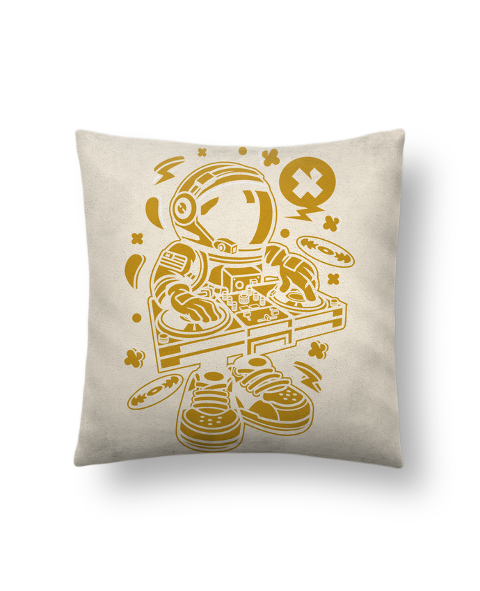 Coussin Toucher Peau de Pêche 41 x 41 cm Dj Astronaute Golden Cartoon | By Kap Atelier Cartoon par Kap Atelier