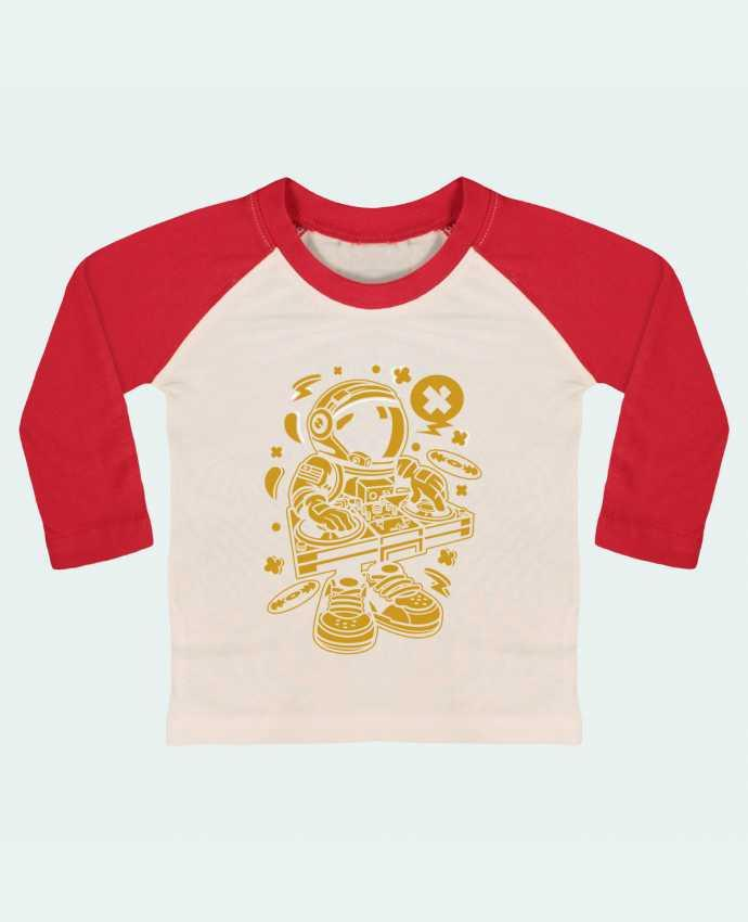 T-shirt Bébé Baseball Manches Longues Dj Astronaute Golden Cartoon | By Kap Atelier Cartoon par Kap Atelier