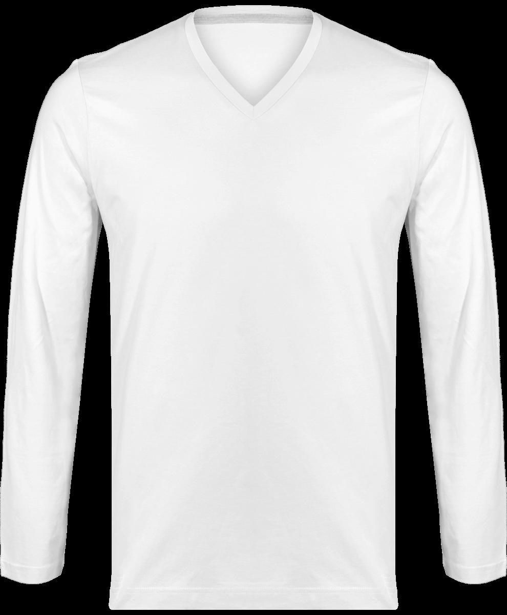 91150ebda3d88 T-shirt Manches Longues Col V Homme