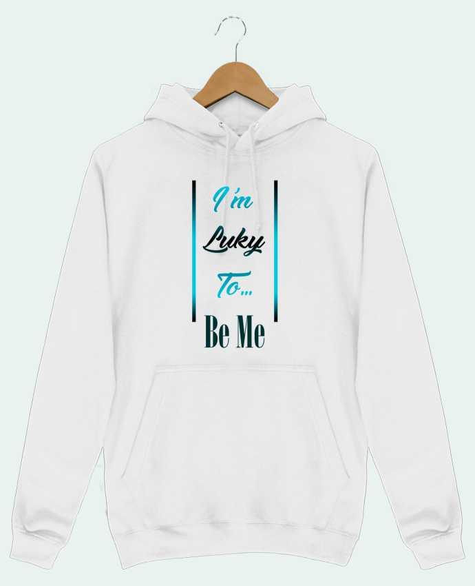 Sweat Shirt à Capuche Homme I'm lucky to be me par MotorWave's