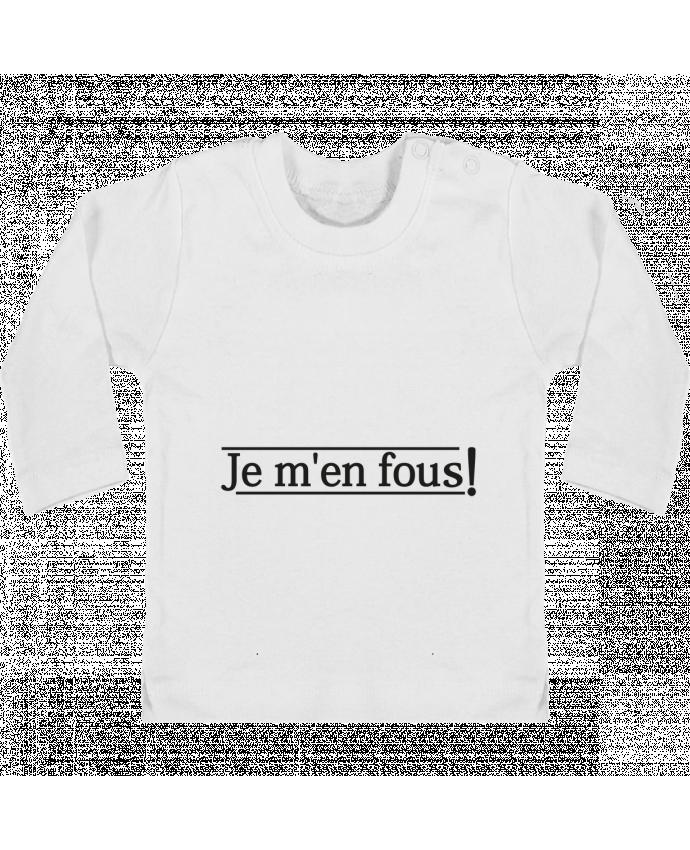 T-shirt Bébé Manches Longues Boutons Pression Je m'en fous ! manches longues du designer tunetoo