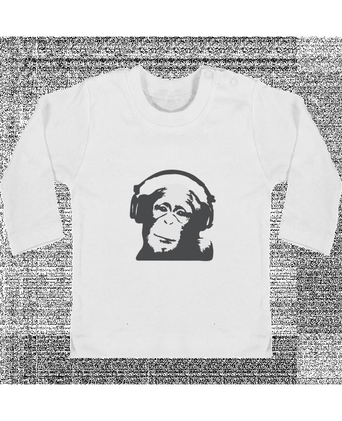 T-shirt Bébé Manches Longues Boutons Pression DJ monkey manches longues du designer justsayin