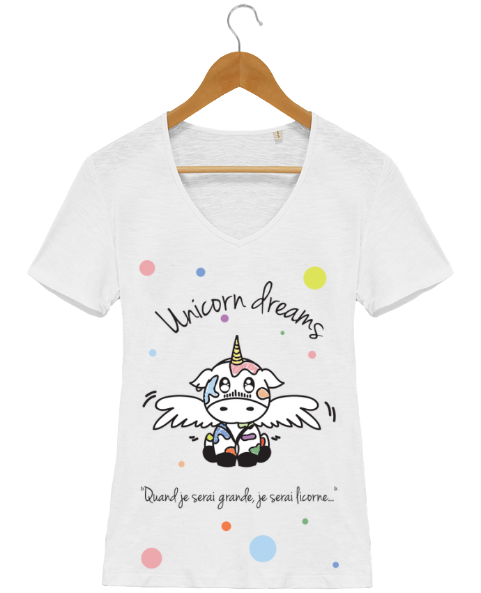 T-shirt Femme Col V Stella Chooses Unicorn Dreams - Little cow par BlassCrea
