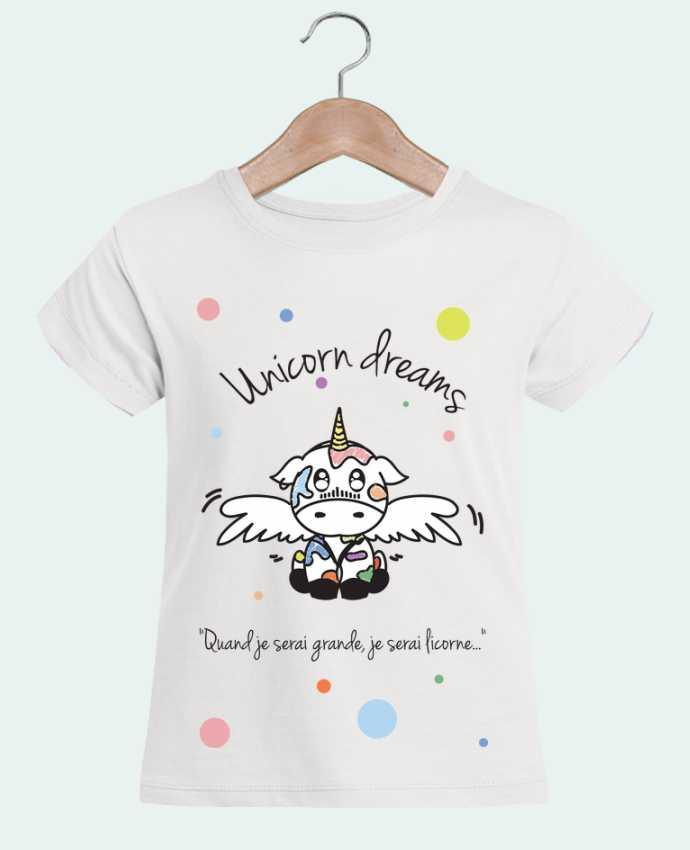 T-shirt Fille Mini Stella Draws Unicorn Dreams - Little cow par BlassCrea