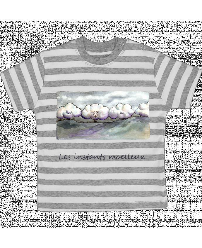 Tee-shirt bébé à rayures moutons nuages par Lia Illustration bien-être