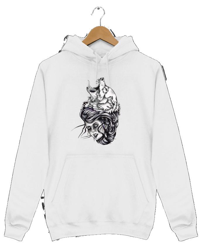 Sweat Shirt à Capuche Homme Femme & Loup par david