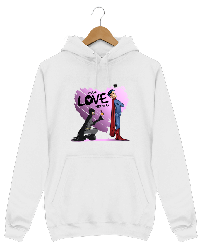 Sweat Shirt à Capuche Homme MAKE LOVE NOT WAR (BATMAN VS SUPERMAN) par teeshirt-design.com