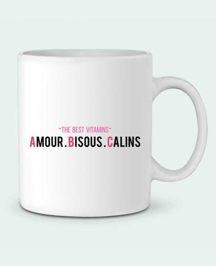 Mug en Céramique -THE BEST VITAMINS - Amour Bisous Calins, version rose par tunetoo