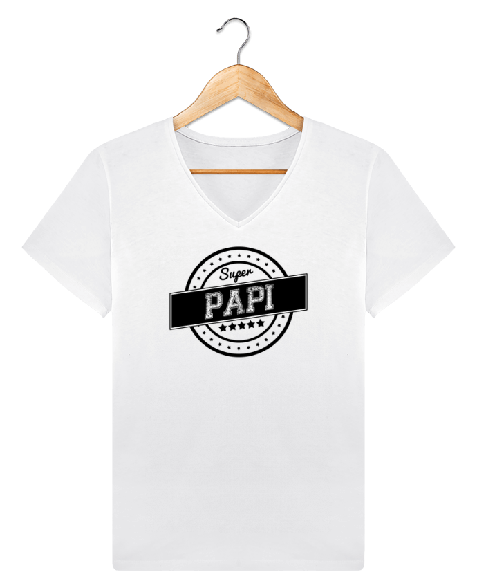 T-shirt Col V Homme Stanley Relaxes Super papi par justsayin