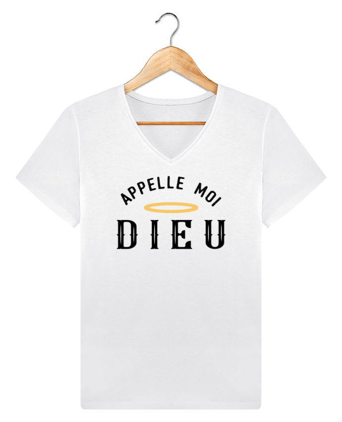 T-shirt Col V Homme Stanley Relaxes Appelle moi dieu par tunetoo