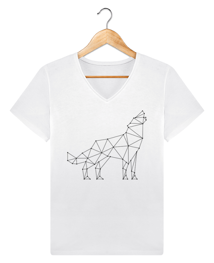T-shirt Col V Homme Stanley Relaxes wolf - geometry par /wait-design
