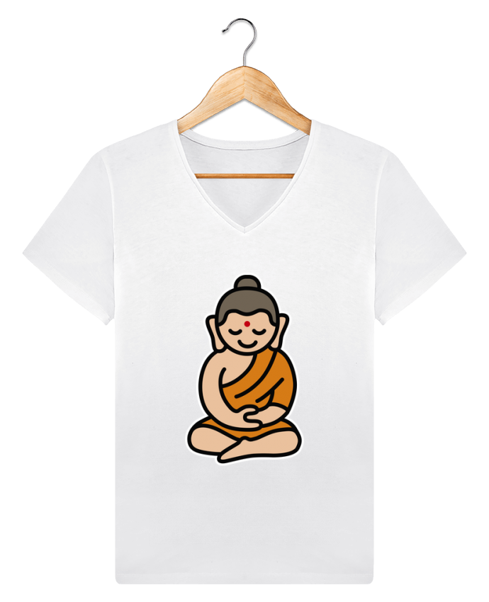 T-shirt Col V Homme Stanley Relaxes Buddha cartoon par LaundryFactory