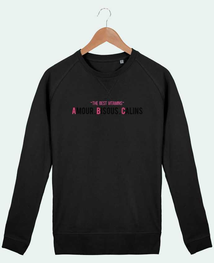 Sweat Col Rond Homme Stanley Strolls -THE BEST VITAMINS - Amour Bisous Calins, version rose par tunetoo
