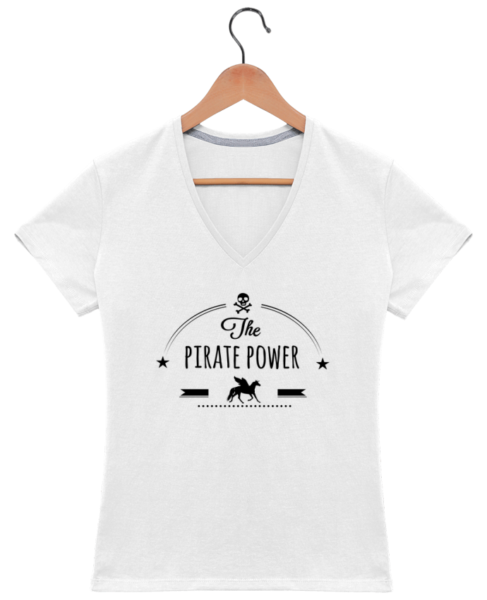 T-shirt Col V Femme Pirate Power par Studiolupi