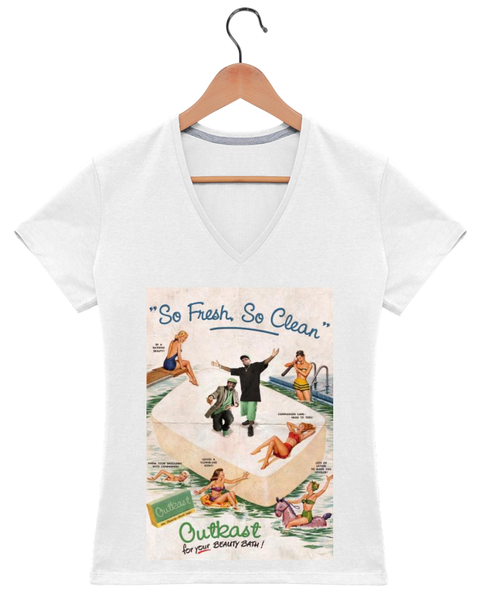 T-shirt Col V Femme So Fresh So Clean par Ads Libitum