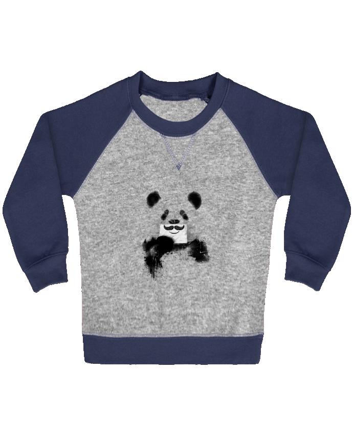 Sweat Shirt Bébé Col Rond Manches Raglan Contrastées Funny Panda Balàzs Solti par Balàzs Solti