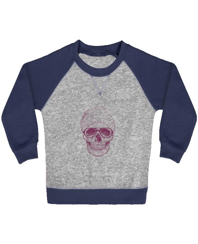 Sweat Shirt Bébé Col Rond Manches Raglan Contrastées Cool Skull par Balàzs Solti