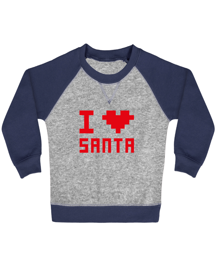 Sweat Shirt Bébé Col Rond Manches Raglan Contrastées I LOVE SANTA par tunetoo