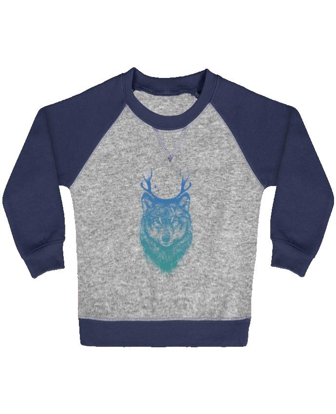 Sweat Shirt Bébé Col Rond Manches Raglan Contrastées Deer-Wolf par Balàzs Solti
