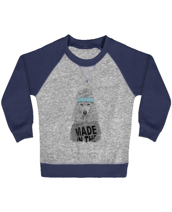Sweat Shirt Bébé Col Rond Manches Raglan Contrastées 80's bitch par Balàzs Solti