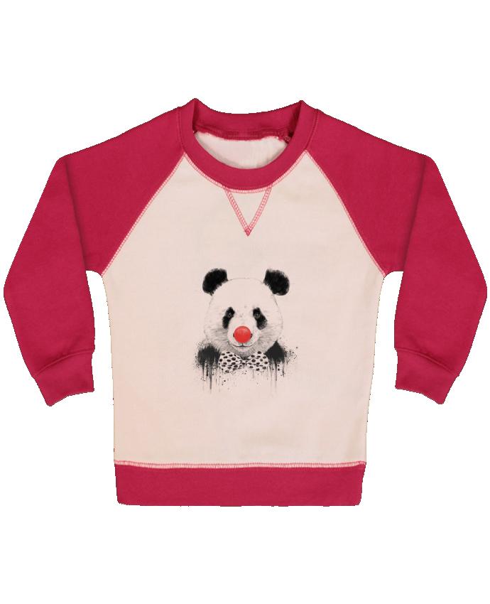 Sweat Shirt Bébé Col Rond Manches Raglan Contrastées Clown par Balàzs Solti