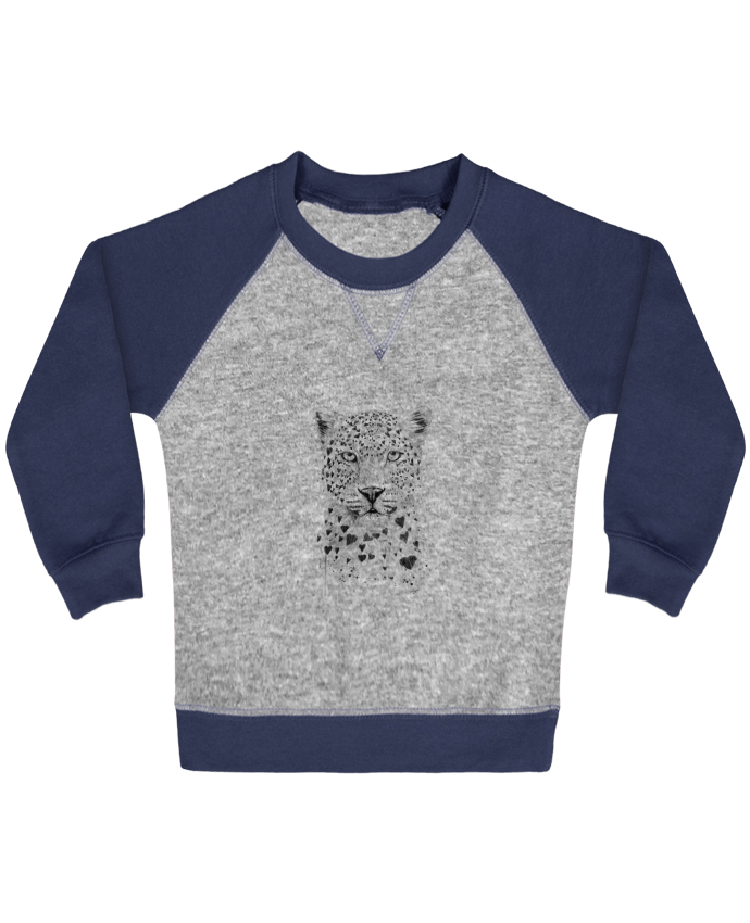 Sweat Shirt Bébé Col Rond Manches Raglan Contrastées lovely_leopard par Balàzs Solti