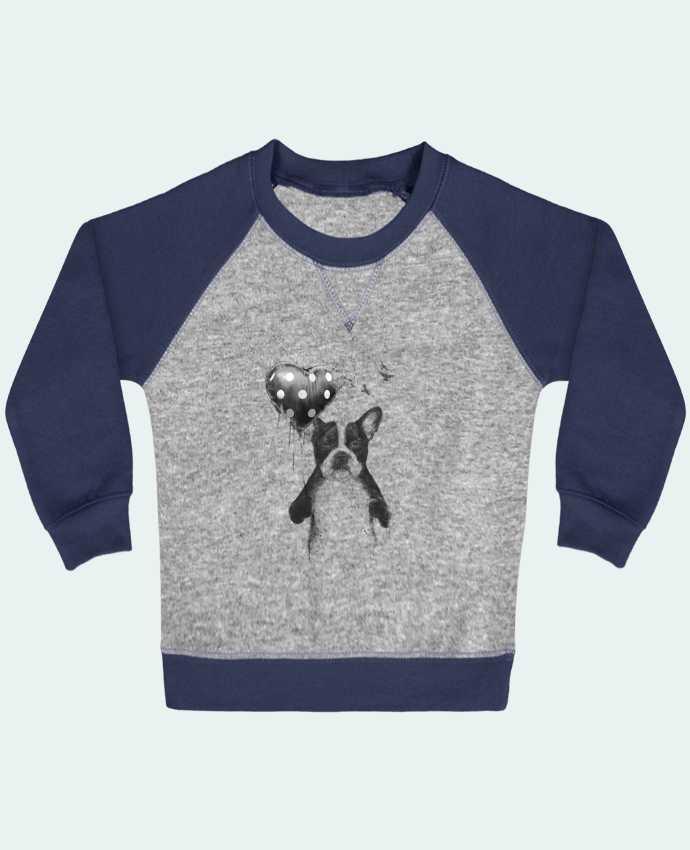 Sweat Shirt Bébé Col Rond Manches Raglan Contrastées my_heart_goes_boom par Balàzs Solti