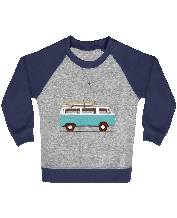 Sweat Shirt Bébé Col Rond Manches Raglan Contrastées Blue van par Florent Bodart