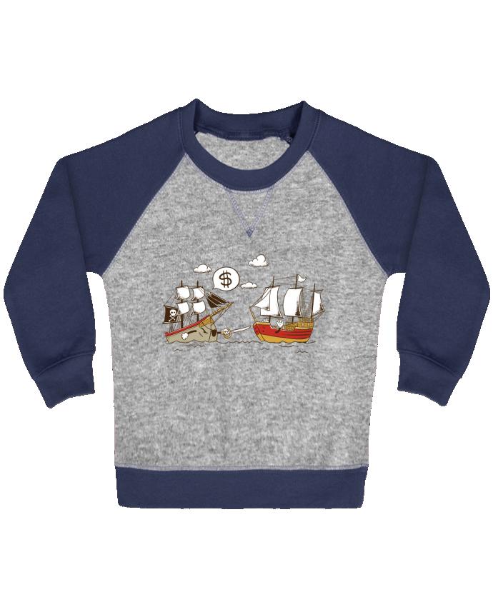 Sweat Shirt Bébé Col Rond Manches Raglan Contrastées Pirate par flyingmouse365