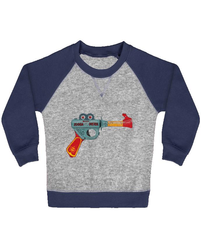 Sweat Shirt Bébé Col Rond Manches Raglan Contrastées Gun Toy par Florent Bodart