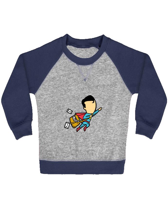 Sweat Shirt Bébé Col Rond Manches Raglan Contrastées Post par flyingmouse365