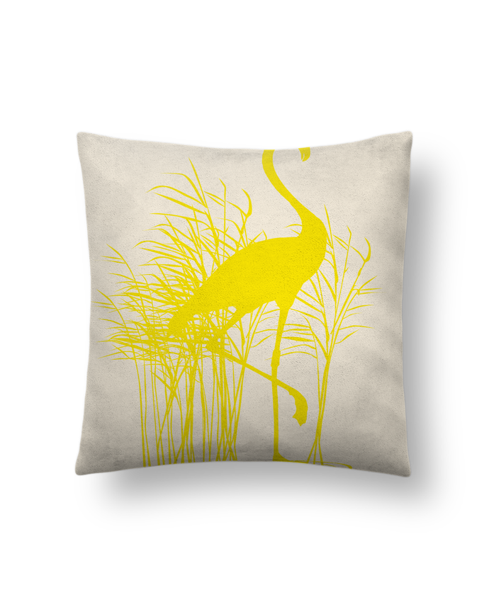 coussin toucher peau de p che 41 x 41 cm flamant rose jaune poussin studiolupi. Black Bedroom Furniture Sets. Home Design Ideas