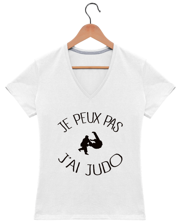 t shirt col v femme 180 gr je peux pas j 39 ai judo. Black Bedroom Furniture Sets. Home Design Ideas