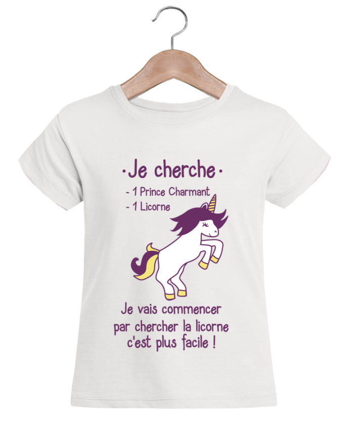 t shirt fille mini stella draws je cherche un prince charmant et une licorne benichan. Black Bedroom Furniture Sets. Home Design Ideas
