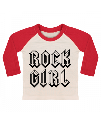 T-shirt Bébé Baseball Manches Longues Rock Girl par Freeyourshirt.com