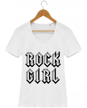 T-shirt Femme Col V Stella Chooses Rock Girl par Freeyourshirt.com