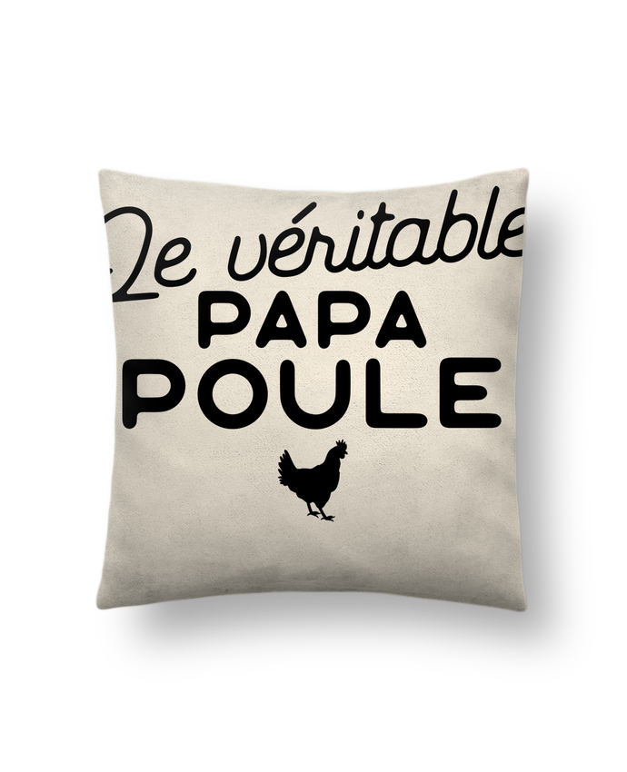coussin toucher peau de p che 41 x 41 cm papa poule cadeau no l original t shirt. Black Bedroom Furniture Sets. Home Design Ideas